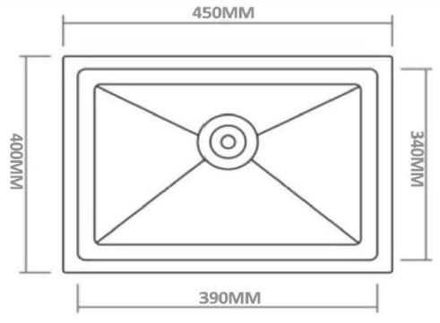 Kromo Granite Stone 450 X 400mm Kitchen Sink Drop In Flush